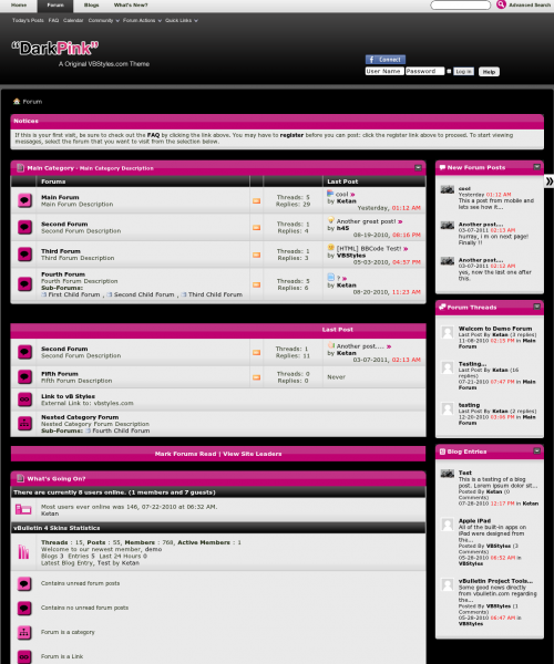 DarkPink 4.x vBulletin Theme - Forum Home