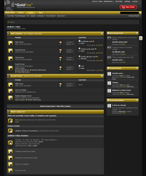 GoldFox 4.x vBulletin Theme - Forum Home